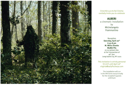 MoMA PS1 invitation to the World Premiere of Alberi.