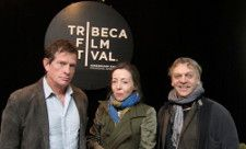 Thomas Haden Church, Anne-Katrin Titze, Marc Labrèche in the Tribeca Film Festival press lounge. Photo by Ed Bahlman.