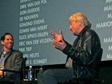 Scott Foundas, Variety Chief Film Critic, in conversation with Paul Verhoeven on his latest filmTricked, created with what was called a 'mass-produced script'. Photo by Anne-Katrin Titze.
