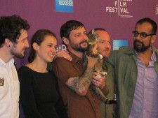Lil Bub & Friendz editor Devin Yuceil, Director Juliette Eisner, Mike Bridavsky, Lil Bub, Director Andy Capper, VICE Co-Founder, Suroosh Alvi. Photo by Anne-Katrin Titze.