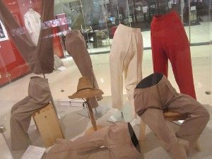 A selection of Hepburn's trousers at the start of the exhibition
