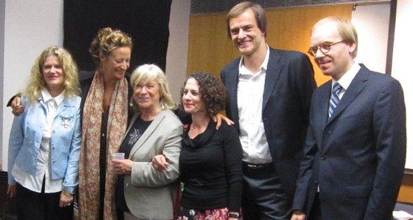 <b>Barbara Sukowa, Janet McTeer, Margarethe von Trotta, Pam Katz, Ulrich Baer, and Director of Deutsches Haus NYU Martin Rauchbauer </b><em>Photo: Anne-Katrin Titze</em>