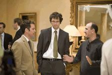 Armando Iannucci, right, with Tom Hollander and Chris Addison onset