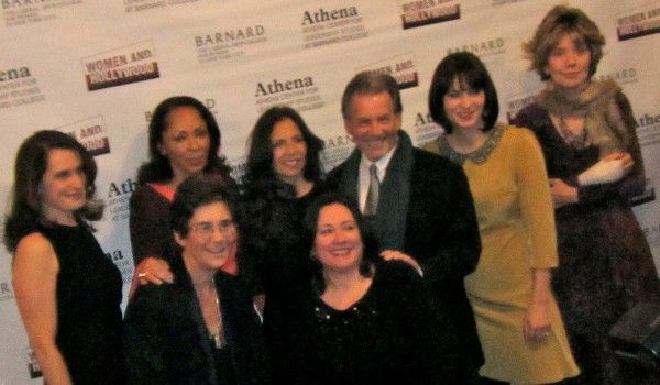 <b>Back row: Debora Spar, president of Barnard College, co-chairs Debra Martin Chase, Diane Levin, Jon Levin and Diablo Cody, Athena Award recipient Molly Haskell; Front row: Co-founders of the Athena Film Festival, Kathryn Kolbert, Melissa Silverstein</b><em> Photo: Anne-Katrin Titze