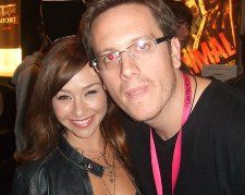 Danielle Harris is snapped with our critic Darren