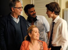 François Ozon on the set with Fabrice Luchini, Ernst Umhauer and Emmanuelle Seigner