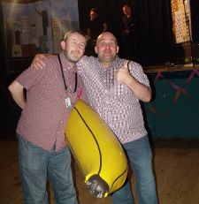 Shane Meadows with a banana and Empire's Damon Wise - it was that kind of night...