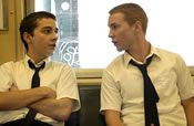 Martin Compston as Mike, right, with Shia LaBoeuf as the young Dito