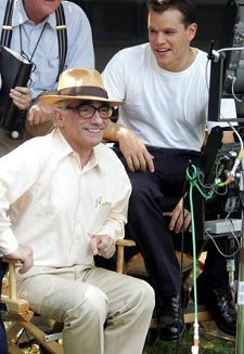 Martin Scorsese and Matt Damon on the set of The Departed