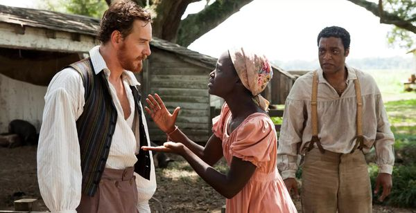 Michael Fassbender, Lupita Nyong'o and Chiwetel Ejiofor as Edwin, Patsey and Solomon in Steve McQueen's 12 Years A Slave