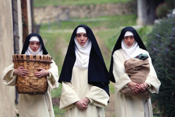 Alison Brie Kate Micucci and Aubrey Plaza in Little Hours - young servant fleeing from his master takes refuge at a dysfunctional convent in medieval Tuscany.