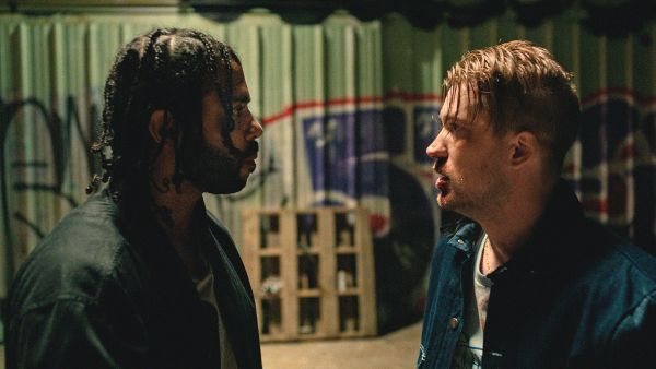 Daveed Diggs and Rafael Casal in Blindspotting - A buddy comedy in a world that won't let it be one.