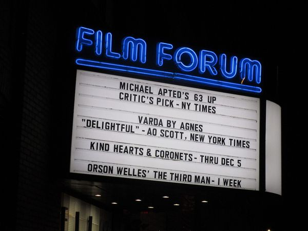 Michael Apted's 63 Up and Agnès Varda's Varda By Agnès on the Film Forum marquee over Thanksgiving