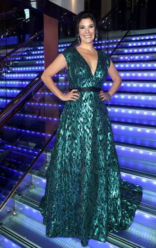 Jasmine Hyde showing off a £30,000 Misha Kaura gown at the London première of The Unseen