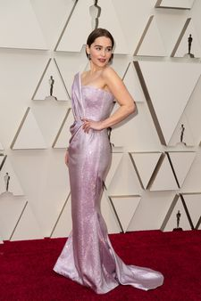 Emilia Clarke arrives on the red carpet of The 91st Oscars® at the Dolby® Theatre in Hollywood.