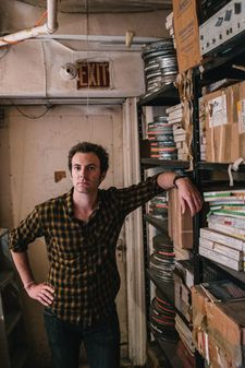 "Aaron Brookner in The Bunker with Howard Brookner's film archive: ""Aaron was excited to find his Uncle's film."""