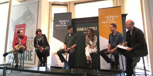 l - r Filmmakers Aaron Katz, Megan Griffiths, Adam Rapp, Amy Berg and Stephen Belber with moderator Mark Adams Tribeca Talks: Adaptation & Creation