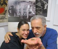Aida Folch and Fernando Trueba with the bird skull - 'This man in my movie is looking for forms, material things.'