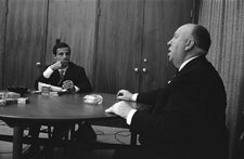 Alfred Hitchcock in thought with François Truffaut
