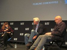 New York Film Festival selection committee member Amy Taubin with Richard Gere and Oren Moverman