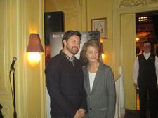 Andrew Haigh with Charlotte Rampling at the Plaza Athénée
