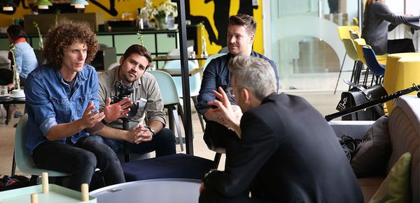 The True Cost director Andrew Morgan with producer Michael Ross engaging Danish Fashion Institute's Jonas Eder-Hansen