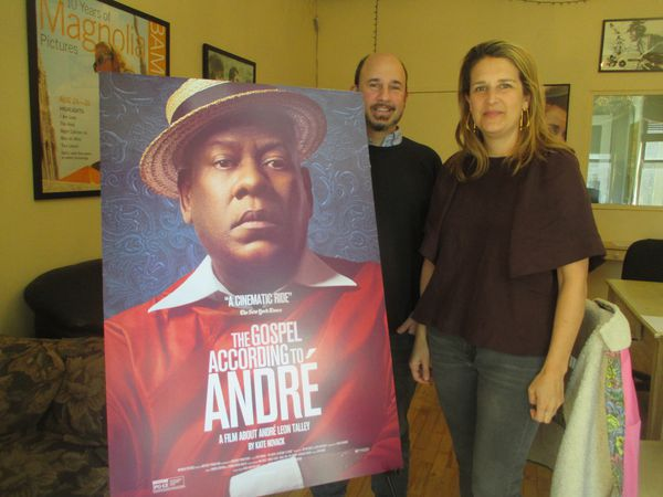 "‪The Gospel According to André‬ director Kate Novack with producer Andrew Rossi on André Leon Talley‪: ""He says he is equally inspired by Lady Ottoline Morrell, a British aristocrat, as he is by Martin Luther King Jr. with the crisp white shirt."""