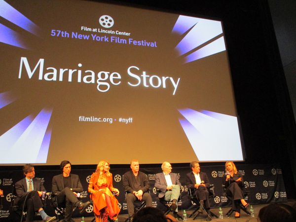 Marriage Story director Noah Baumbach with Adam Driver, Laura Dern, Ray Liotta, Alan Alda, producer David Heyman and Scarlett Johansson