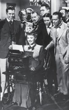 Betty Grable typing on a Sholes & Glidden in The Shocking Miss Pilgrim