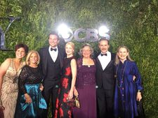 Nominees Bradley Cooper, Patricia Clarkson, and Alessandro Nivola with their dates (mums) for the Tony Awards. The Elephant Man stars will be flying back to London today to continue their run in the revival of Bernard Pomerance's play at the Theatre Royal Haymarket through August 8.