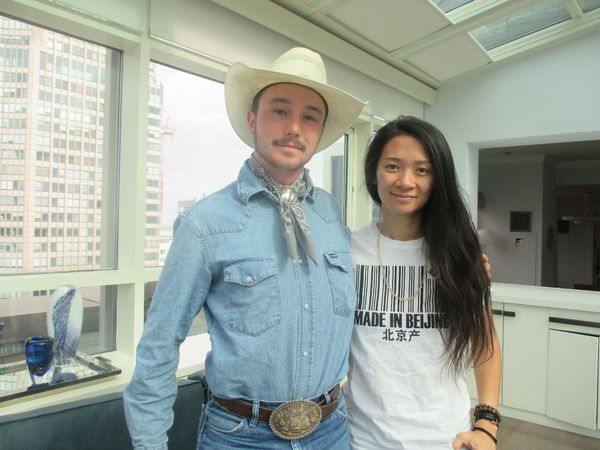 Chloé Zhao with The Rider star Brady Jandreau at the London Hotel in New York