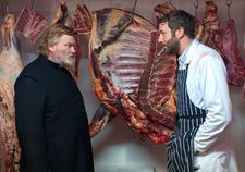 "Brendan Gleeson on Father James with Chris O'Dowd as the butcher: ""Yes. The soutane, it's a declaration of intent."""