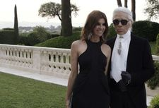Carine Roitfeld and Karl Lagerfeld in Cannes for her amfAR gala