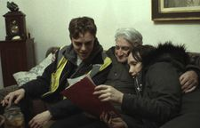 Vic (Chris Galust) with his grandfather (Arkady Basin) and sister Sasha (Darya Ekamasova)