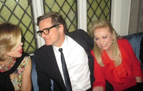 "Colin Firth talking to Christine Baranski with Jacki Weaver at Harlow: ""They were originals from the 1920s that were sourced in Paris."""