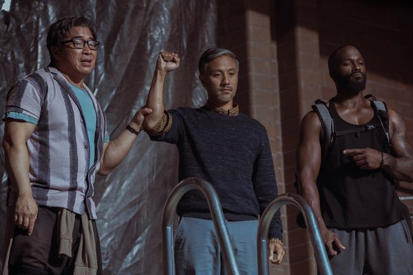 Ron Yuan, Alain Uy and Mykel Shannon Jenkins as The Three Tigers