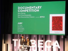 Barbara Kopple announces with David Wilson the Tribeca Film Festival Documentary Awards all won by Bobbi Jene