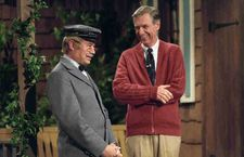 Fred Rogers having a laugh with postman Mr. McFeely (David Newell).