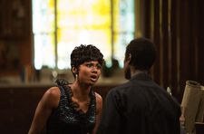 "Frances Taylor (Emayatzy Corinealdi) with Miles: ""Actually, it's a four-story church."""