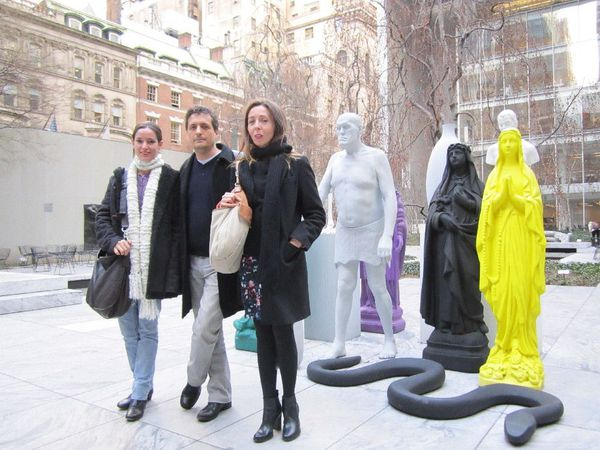 Aquarius producer Emilie Lesclaux and director Kleber Mendonça Filho with Anne-Katrin Titze in the Museum of Modern Art sculpture garden for Neighboring Sounds