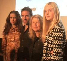 Alessandro Nivola with Alice Englert, Ginger and Rosa director Sally Potter and Elle Fanning at the 50th New York Film Festival