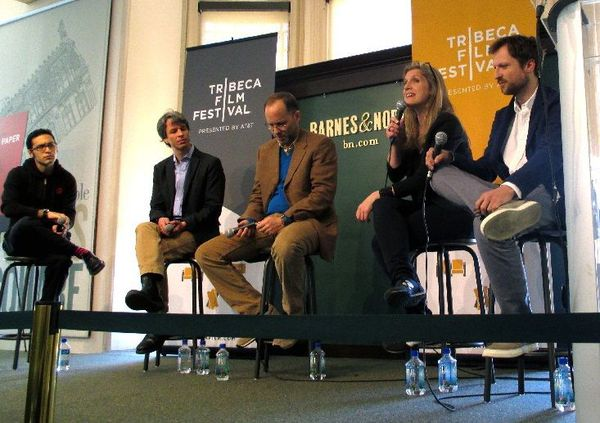 l - r Eric Kohn with Marshall Curry, Ira Sachs, Sofia Norlin and Orlando von Einsiedel at the Tribeca Talks: Calling The Shots.