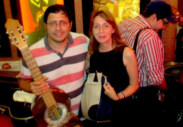 Anne-Katrin Titze with Recycled Orchestra Director Favio Chávez at Cinema Village