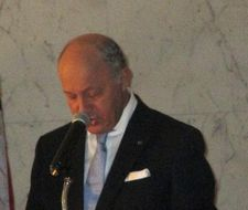 "French Minister of Foreign Affairs and International Development Laurent Fabius: ""I am delighted to welcome you tonight to celebrate three men, … who will receive the highest distinction of French government, the Légion d'honneur."""
