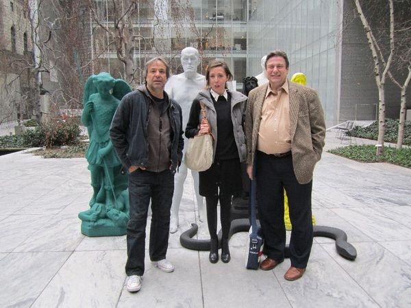 Pablo Giorgelli, Anne-Katrin Titze and New York Film Festival director Richard Peña, became for a moment part of Katharina Fritsch's Figurengruppe (Group of Figures) in MoMA's sculpture garden.