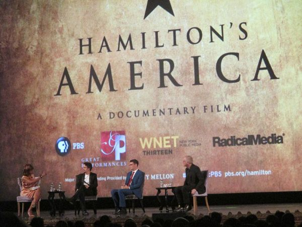 Gayle King, Lin-Manuel Miranda, Alex Horwitz and Ron Chernow
