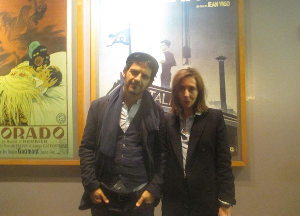 Géza Röhrig with Anne-Katrin Titze at Lincoln Plaza Cinemas for the opening of Son of Saul (Saul fia), directed by László Nemes
