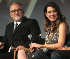 "Director David Fincher with Gone Girl author/screenwriter Gillian Flynn: ""You have the media as this Greek chorus, blown up large to really magnify it."""
