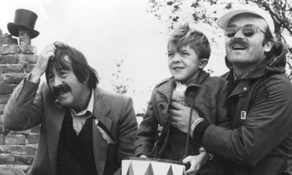 Günter Grass with David Bennent and Volker Schlöndorff on the set of The Tin Drum