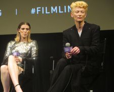 Honor Swinton Byrne with Tilda Swinton at The Souvenir New York preview